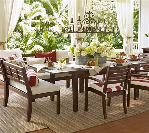outdoor banquette seating stonyford indoor outdoor chandelier pottery barn