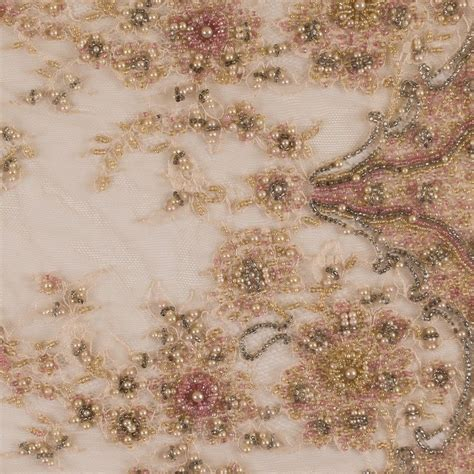 beaded fabric by the yard dusty fancy beaded lace w scalloped edges fabric by