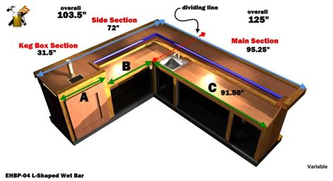 Ehbp 04 L Shaped Wet Bar Easy Home Bar Plans Saloon Style House Plans
