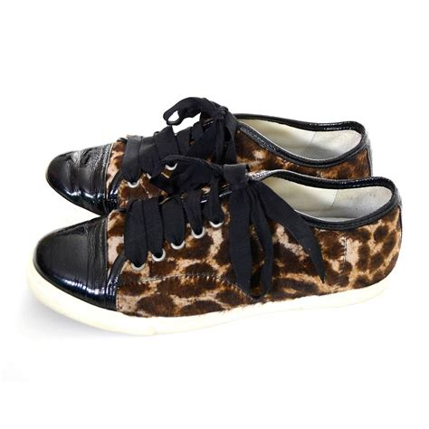 lanvin pony hair patent leather low top sneakers lace up