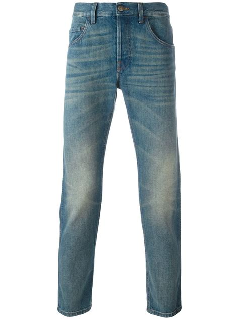 Slim Fit Cropped gucci cropped slim fit in blue for lyst