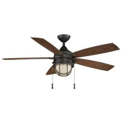 Home Depot Outdoor Ceiling Fan by Hton Bay Seaport 52 In Indoor Outdoor Iron