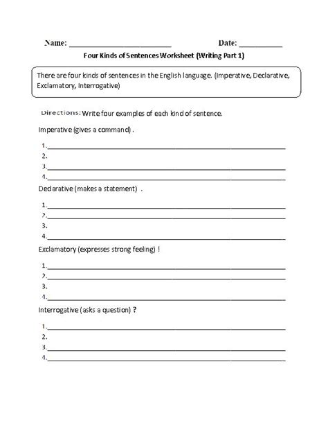 pattern of interrogative sentences writing with four kinds of sentences worksheet