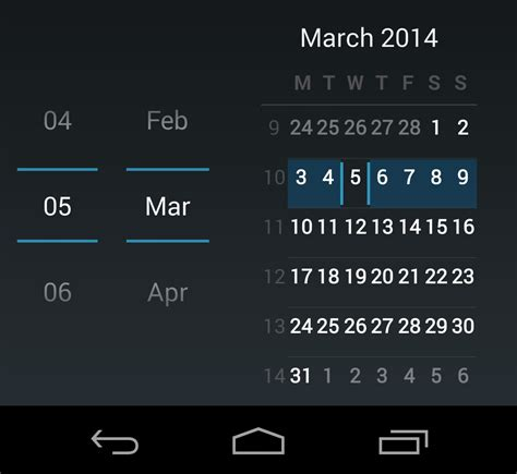 Calendar Api Android Android Calendar View For Date Picker Stack Overflow