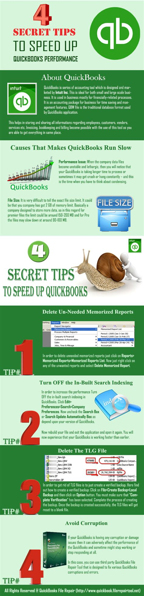 Sale Info Secret 4 infographic 4 secret tips to speed up quickbooks performance file repair tool