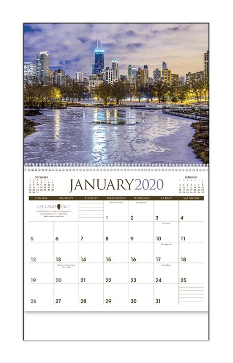 chicago calendar    imprinted spiral bound drop ad imprint calendars