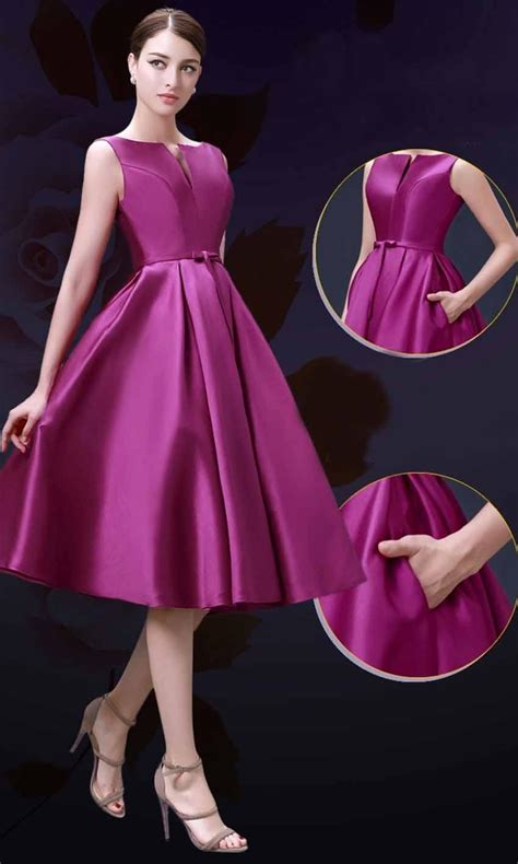 Bridesmaid Dresses With Pockets Uk - elegance slash pocket mid length formal bridesmaid dresses