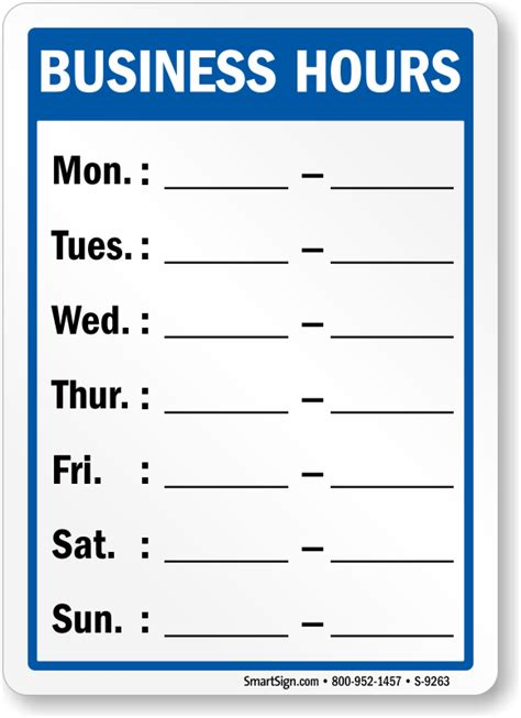 Business Hour Template business hours signs