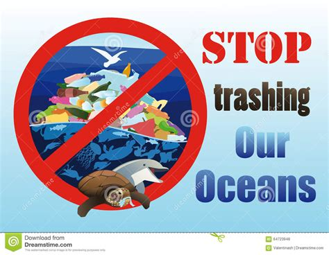 Trashing by Ecological Poster Stop Trashing Our Oceans Stock Vector