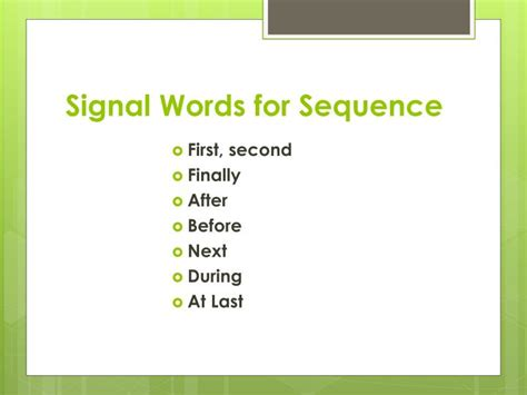 sequence pattern of organization signal words ppt patterns of organization and signal words powerpoint