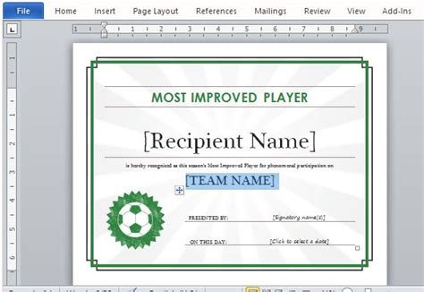 Printable Sports Certificate Template For Word