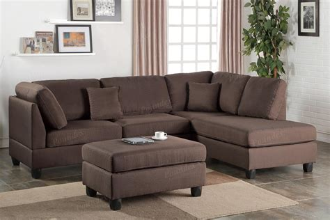 brown sectional sofa poundex f7608 brown fabric sectional sofa and