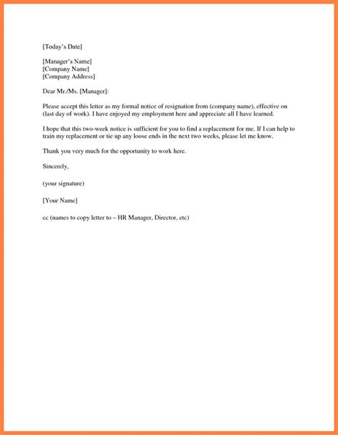 template resignation letter 2 week notice two 2 week notice resignation letter exles of simple