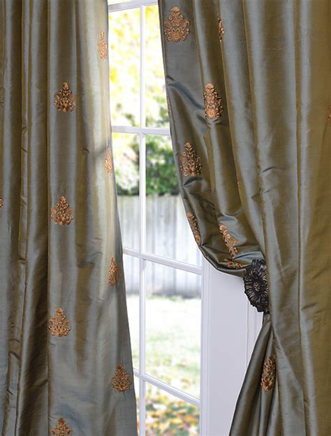 silk embroidered curtains savings on embroidered and patterned faux silk curtains