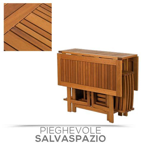 tavolo da giardino richiudibile set legno acacia salvaspazio chiudibile foldies set5