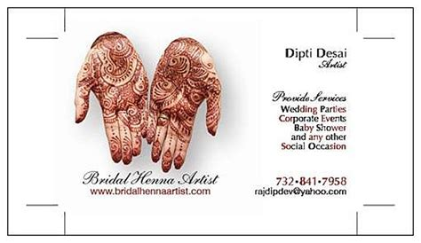 Free Mehndi Business Cards Template by South Asian Source Great Designs From Bridal Henna Artist