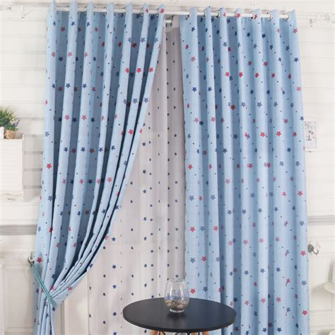 blue star curtains thick polyester full blackout baby blue star curtains
