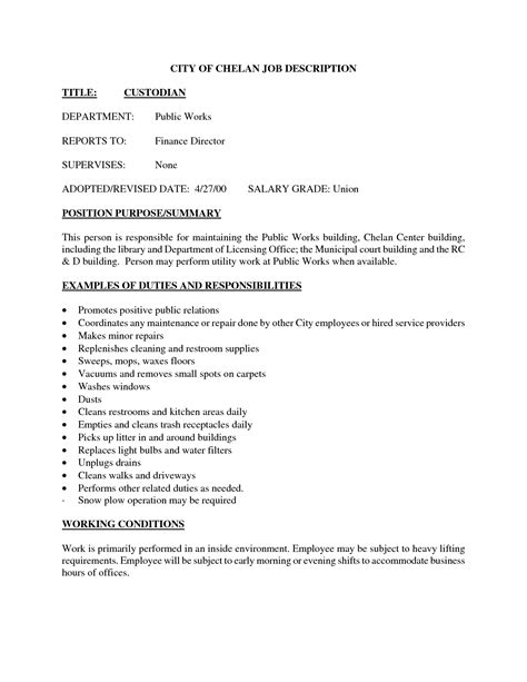 janitorial description assistant branch manager description