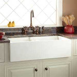 bowl farmhouse kitchen sink 36 quot risinger 60 40 offset bowl fireclay farmhouse sink
