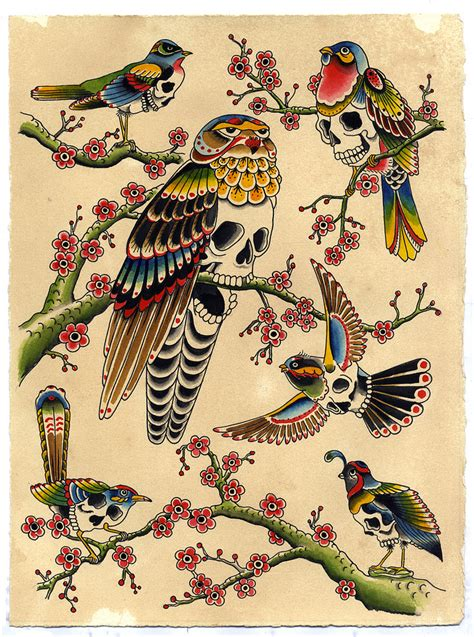 bird skulls 12 quot x 15 quot ink on paper 2012 kyler martz