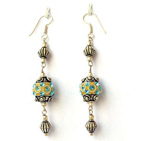 Handmade Bead Earrings - handmade earrings yellow with aqua