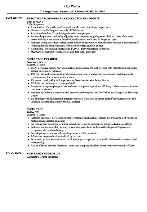 Tech Resume by Sleep Tech Resume Sles Velvet