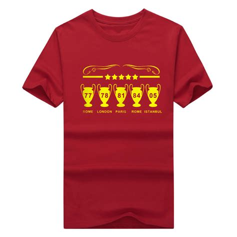 T Shirt Liverpool Big liverpool chions league mens 5 european cups scouser gerrard t shirt sleeve 100 cotton