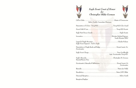 Eagle Scout Program Template eagle court of honor program images