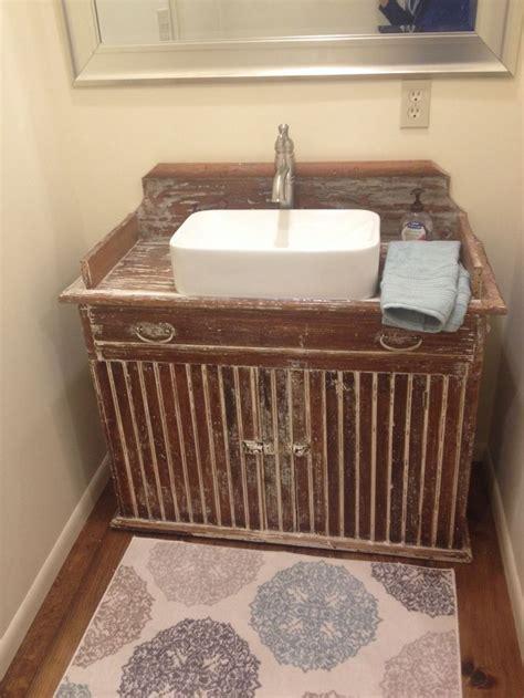 A primitive dry sink we made into a bathroom vanity