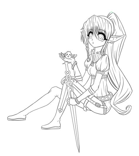 coloring pages girl elves elf warrior lineart by moon valkyrie on deviantart
