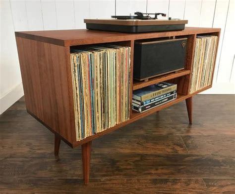 solid mahogany turntable cabinet  album storage mid