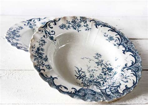 set of 2 soup plates shabby but chic french soup plates