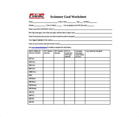 goal sheet template goal sheet template 10 free pdf documents