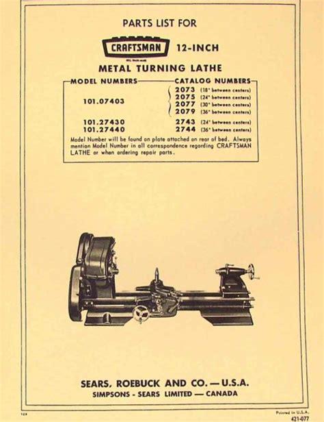 atlas lathe parts diagram craftsman atlas 12 quot lathe 101 07403 101 27430 101 27440