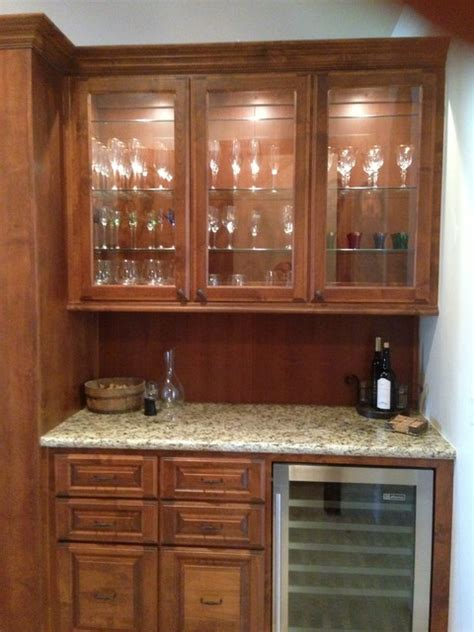 Glass Door Bar Cabinet Bar Base And Cabinet With Custom Glass Doors Mediterranean Kitchen Los Angeles