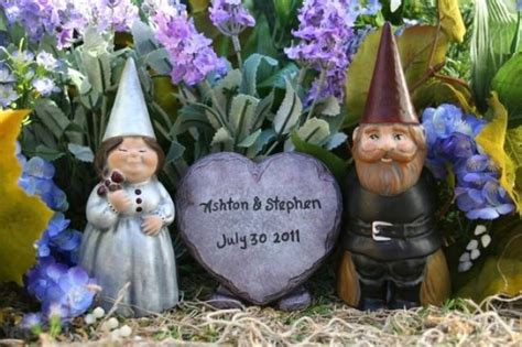 gnome personalization themes custom gnomes wedding cake toppers 3 piece set