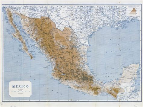 big map of mexico large detailed elevation map of mexico with railways