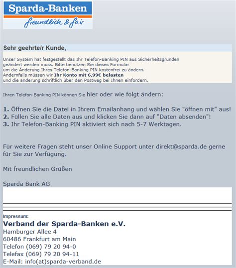 telefon banking sparda bank phishing mail alerts sparda bank telefonpin aktualisierung