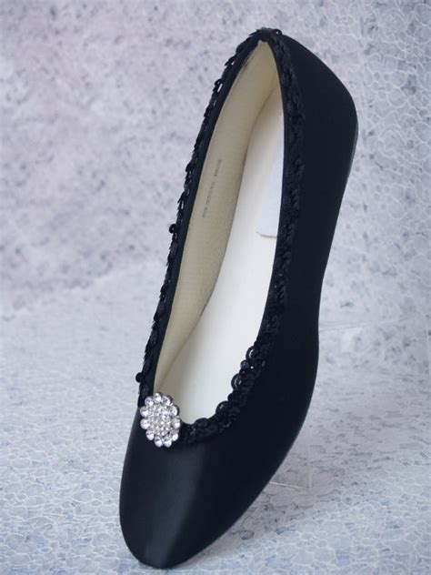 Black Wedding Flats by Black Wedding Shoes Dressy Flats Satin With Brooch By