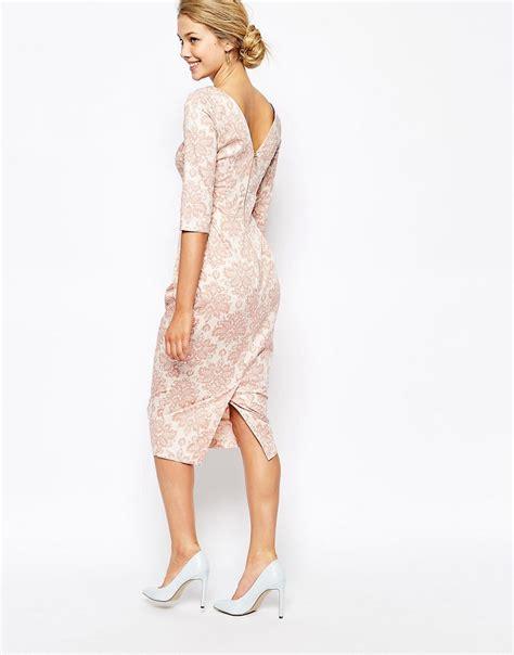 Closet Dresses by Closet Closet Midi Pencil Dress In Wallpaper