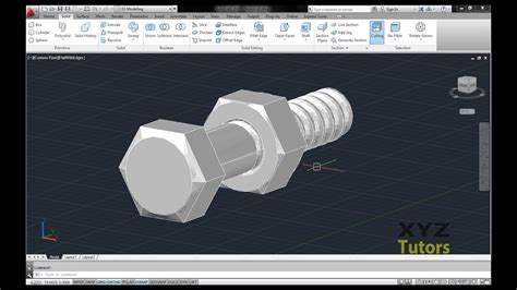 autocad nut tutorial autocad tutorials making 3d nut bolt youtube
