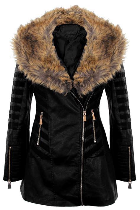 Coat Zipper Dea 7 faux pvc leather fur collar mesh insert pu zipper coat jacket ebay