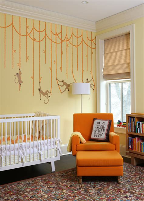 Monkey Curtains Nursery Monkey Curtains With Wall Lettering Nursery Contemporary And Transitional Carpet Tiles