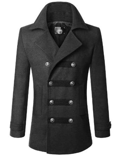 Coat Abu Dhabi doublju mens wool slim breasted half trench coat