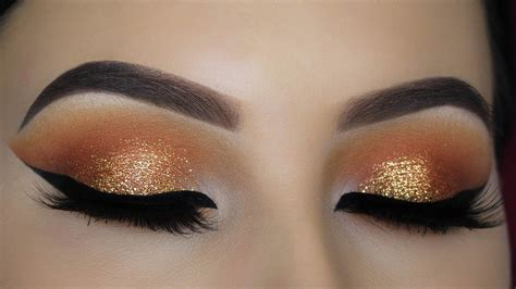 orange makeup tutorial warm orange glitter eye makeup tutorial youtube