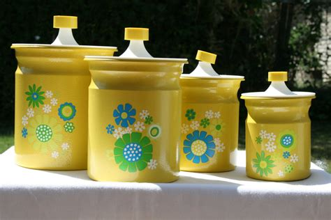 vintage kitchen canister set of 4 yellow with flower designs