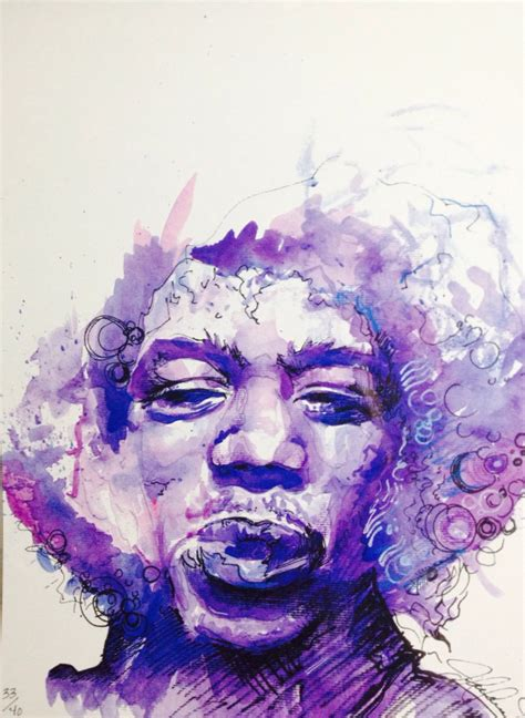 purple haze original watercolor print of jimi hendrix