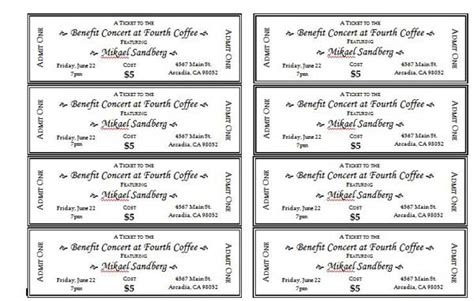 Ticket Event Template ticket templates new calendar template site