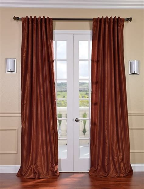 burnt orange curtains burnt orange vintage textured faux dupioni silk curtain