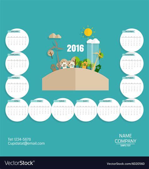 Business Card Calendar Template 2016 by 2016 Calendar Modern Business Card Template With Vector Image